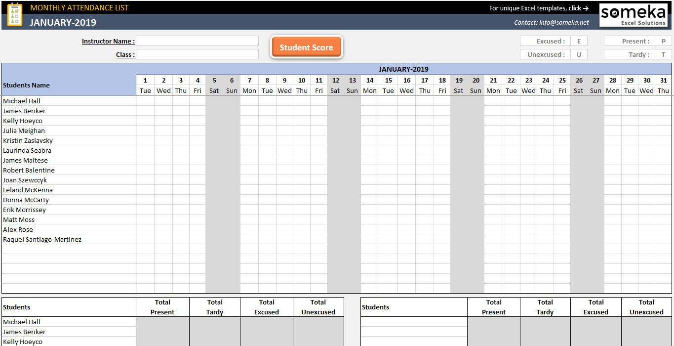 006 Attendance Tracker Free Employee Record Template Excel