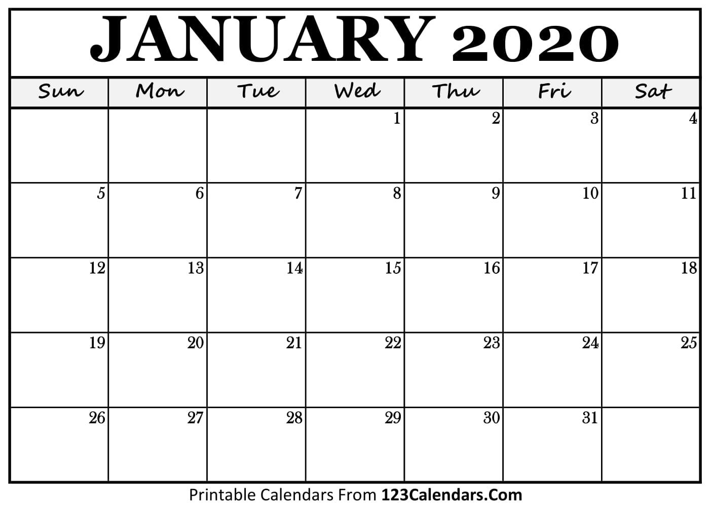 014 January Calendar Template Ideas Blank Striking Printable