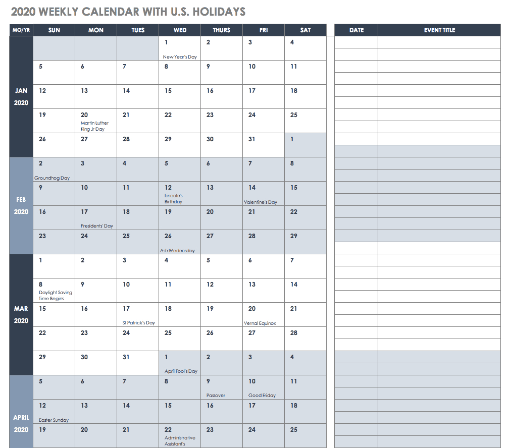 014 Template Ideas Ic Weekly Calendar With Us Holidays Free