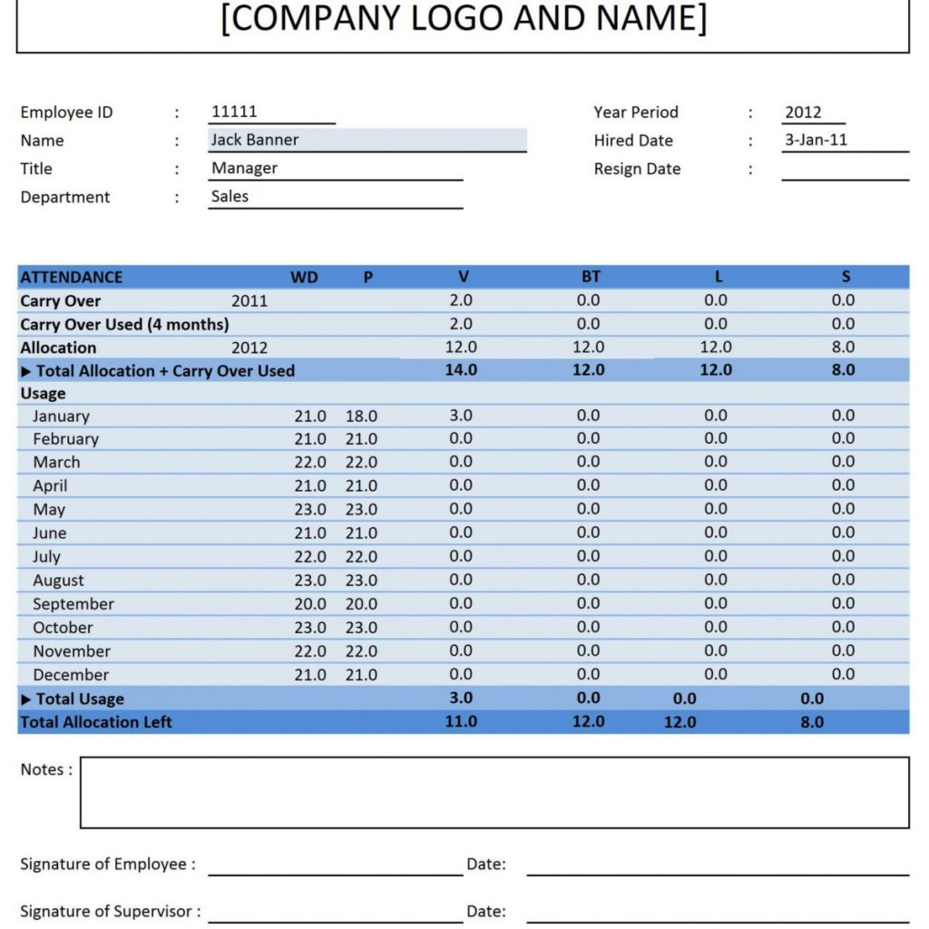 017 Employee Attendance Tracker Excel Template Free Download