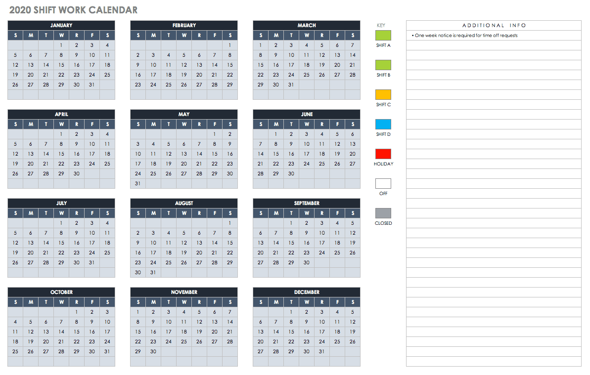 018 Ic Monthly Shift Work Calendar Free Excel Template