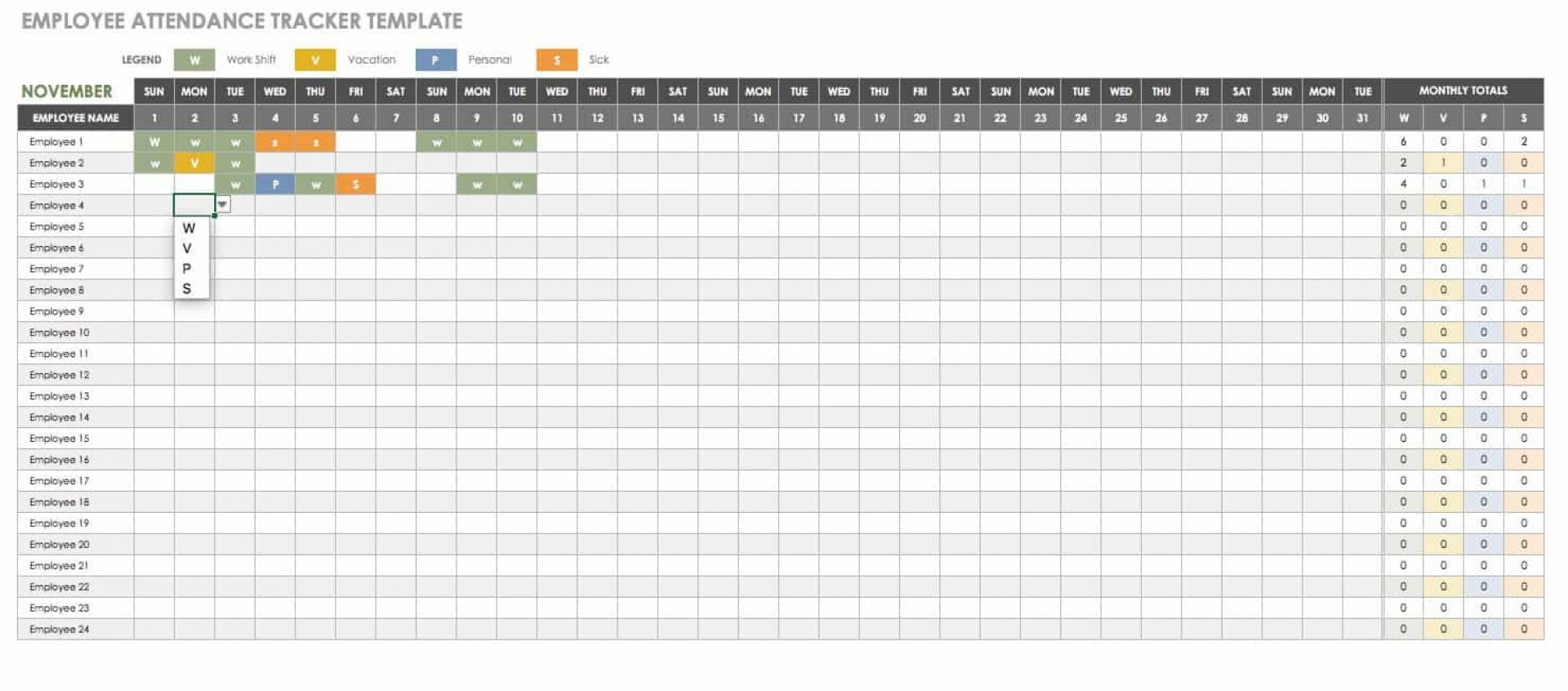 019 Employee Vacation Planner Template Excel Free Ideas
