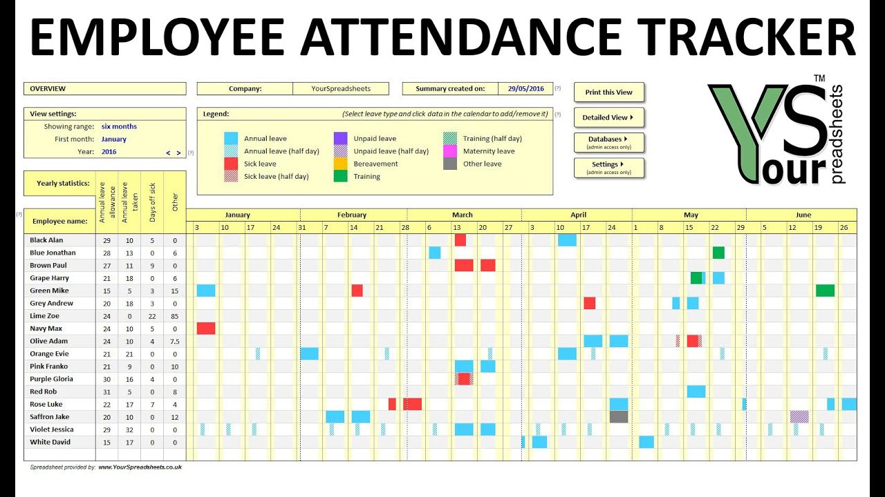 020 Excel Pto Tracker Template Employee Vacation Tracking