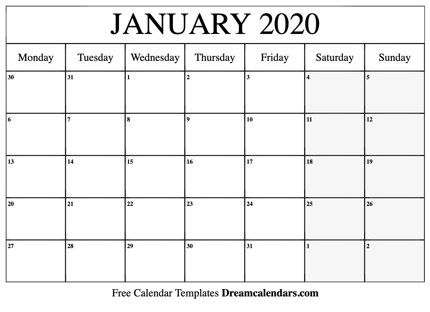 024 Free Excel Calendar Template January Incredible 2020