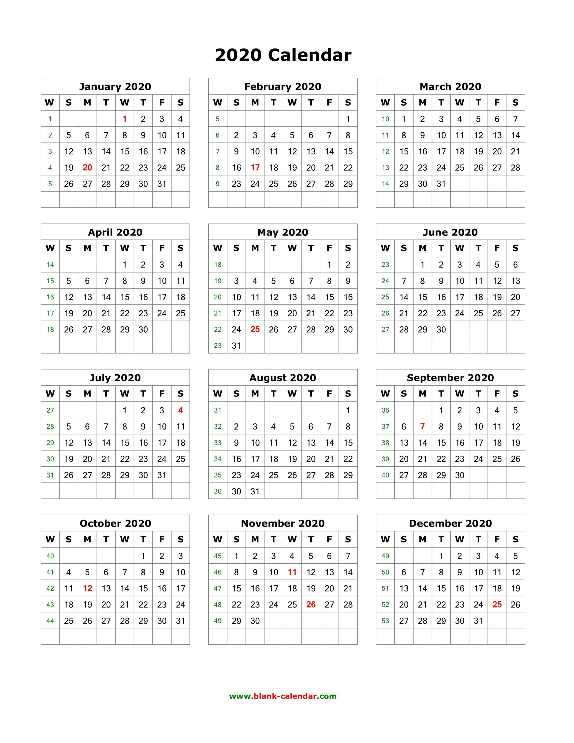 1 Page Calendar 2020 - Togo.wpart.co