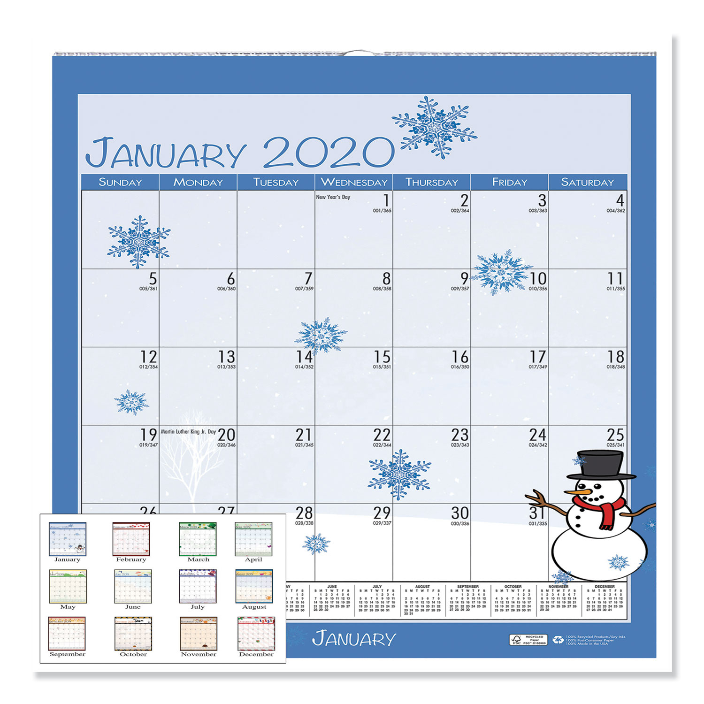 100% Recycled Seasonal Wall Calendar, 12 X 12, 2020