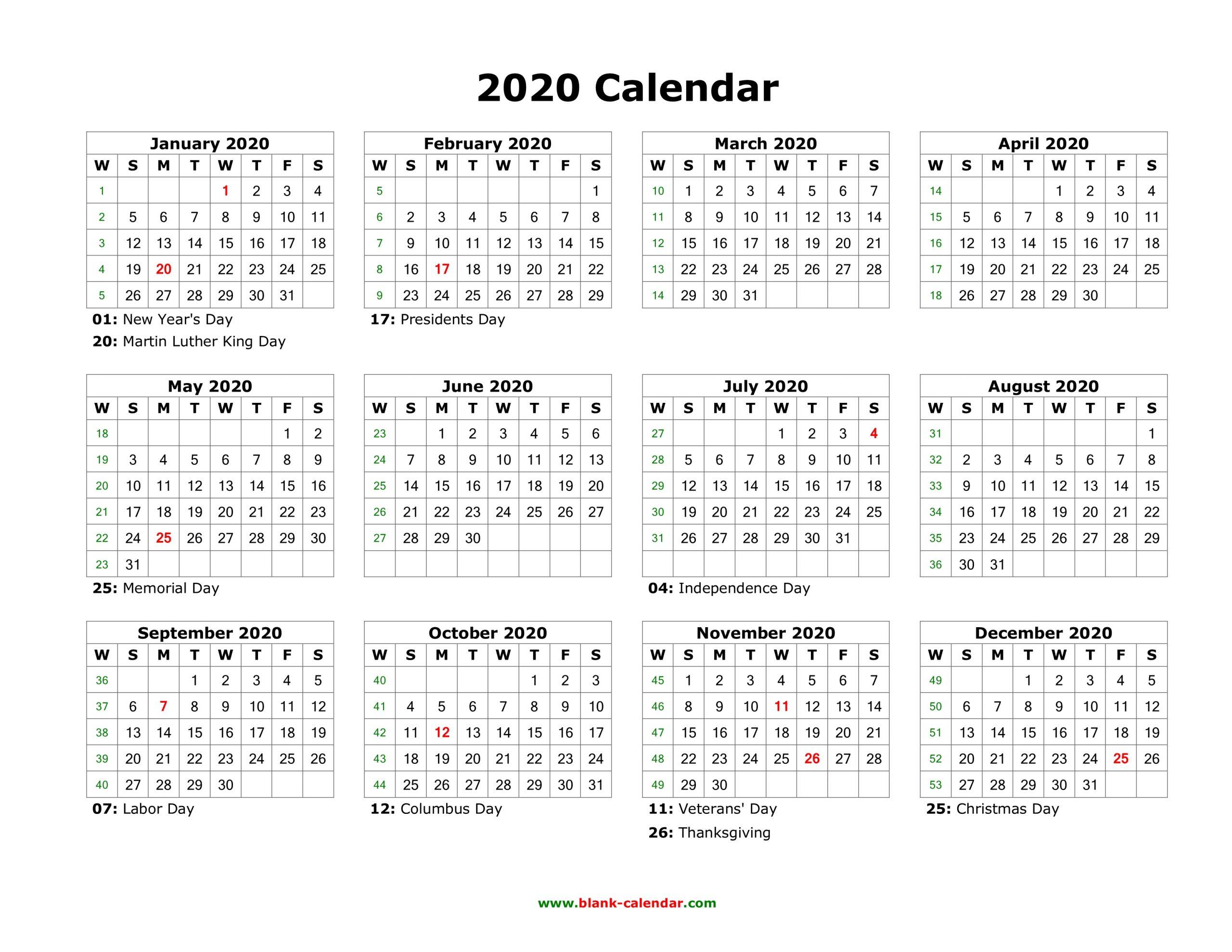 12 Month Free Printable Calendar 2020 | Printable Calendar 2020