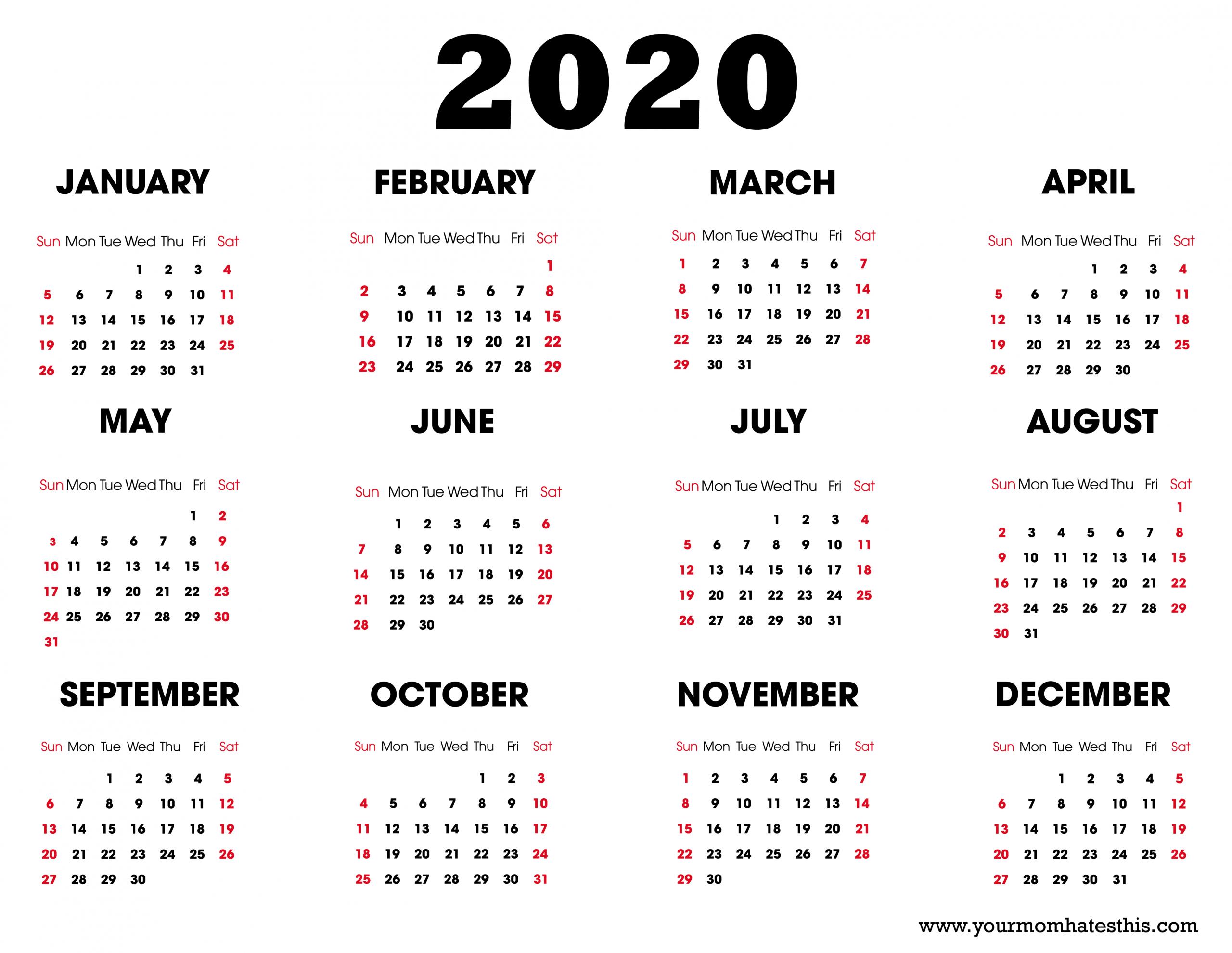 12 Months 2020 Calendar - Togo.wpart.co
