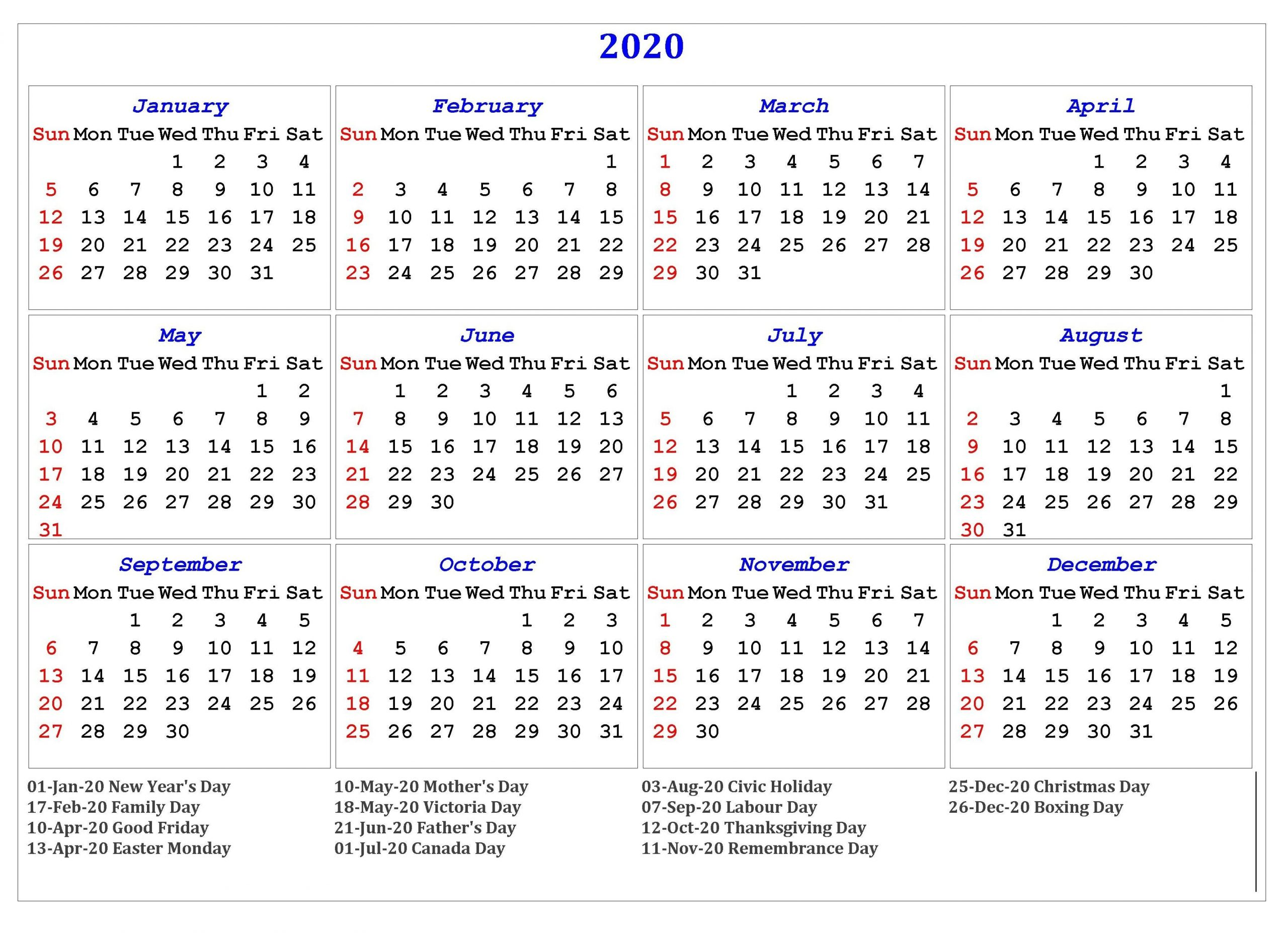 12 Months 2020 Printable Calendar With Holidays | Calendar 2020