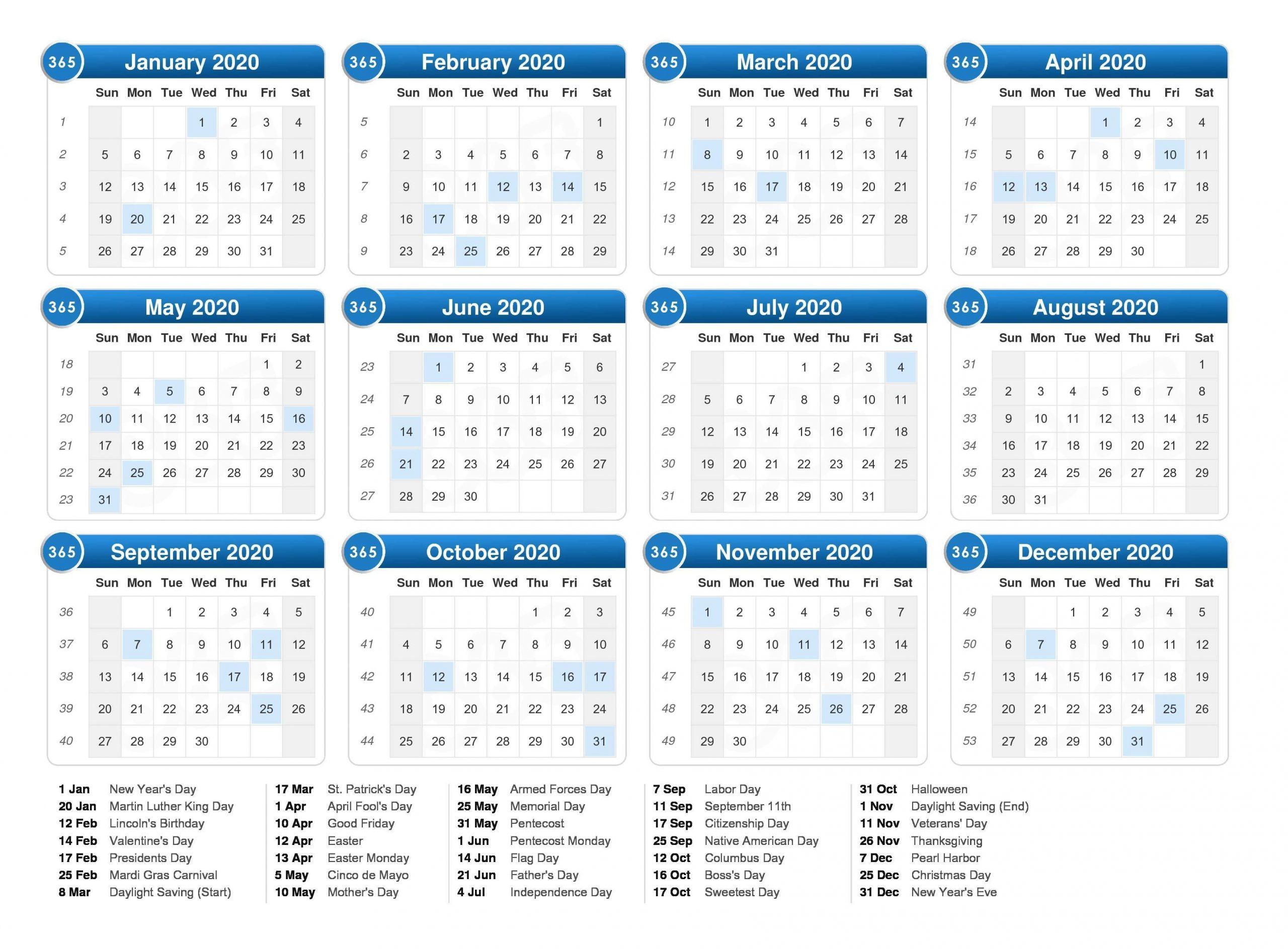 12 Months 2020 Printable Calendar With Holidays | Calendar 2020