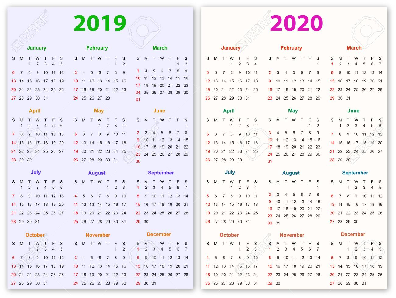 12 Months Calendar Design 2019-2020 Printable And Editable.