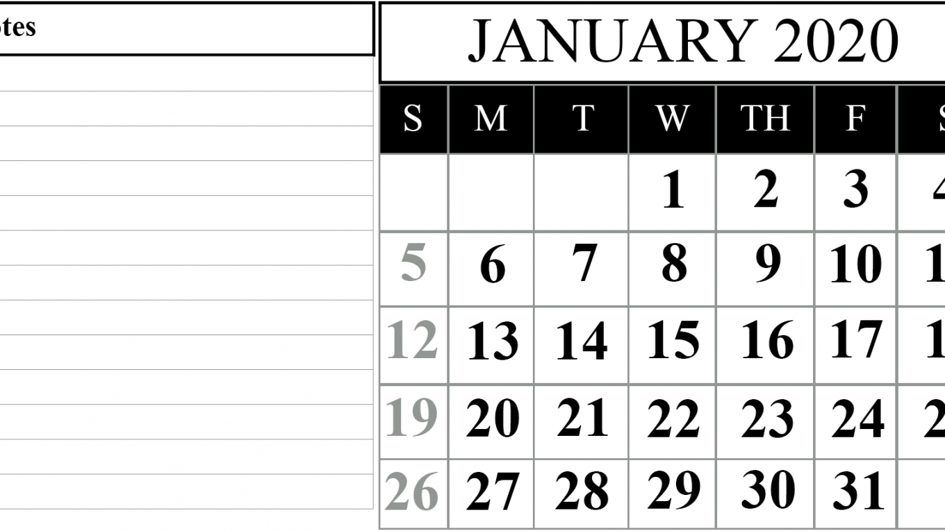 15+ Free Blank January 2020 Fillable Calendar Template To