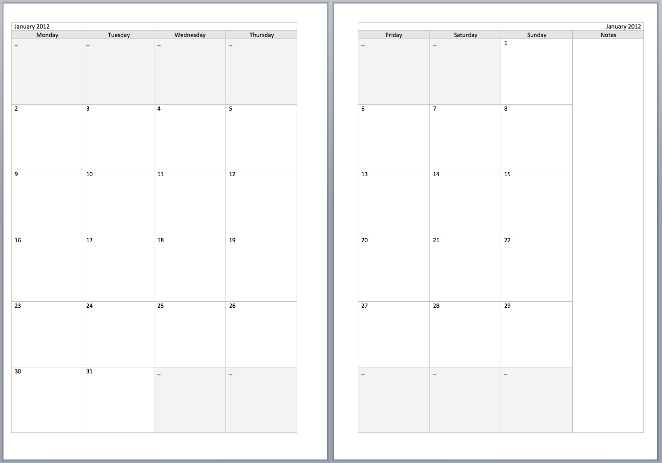 2 Page Calendar Template - Togo.wpart.co