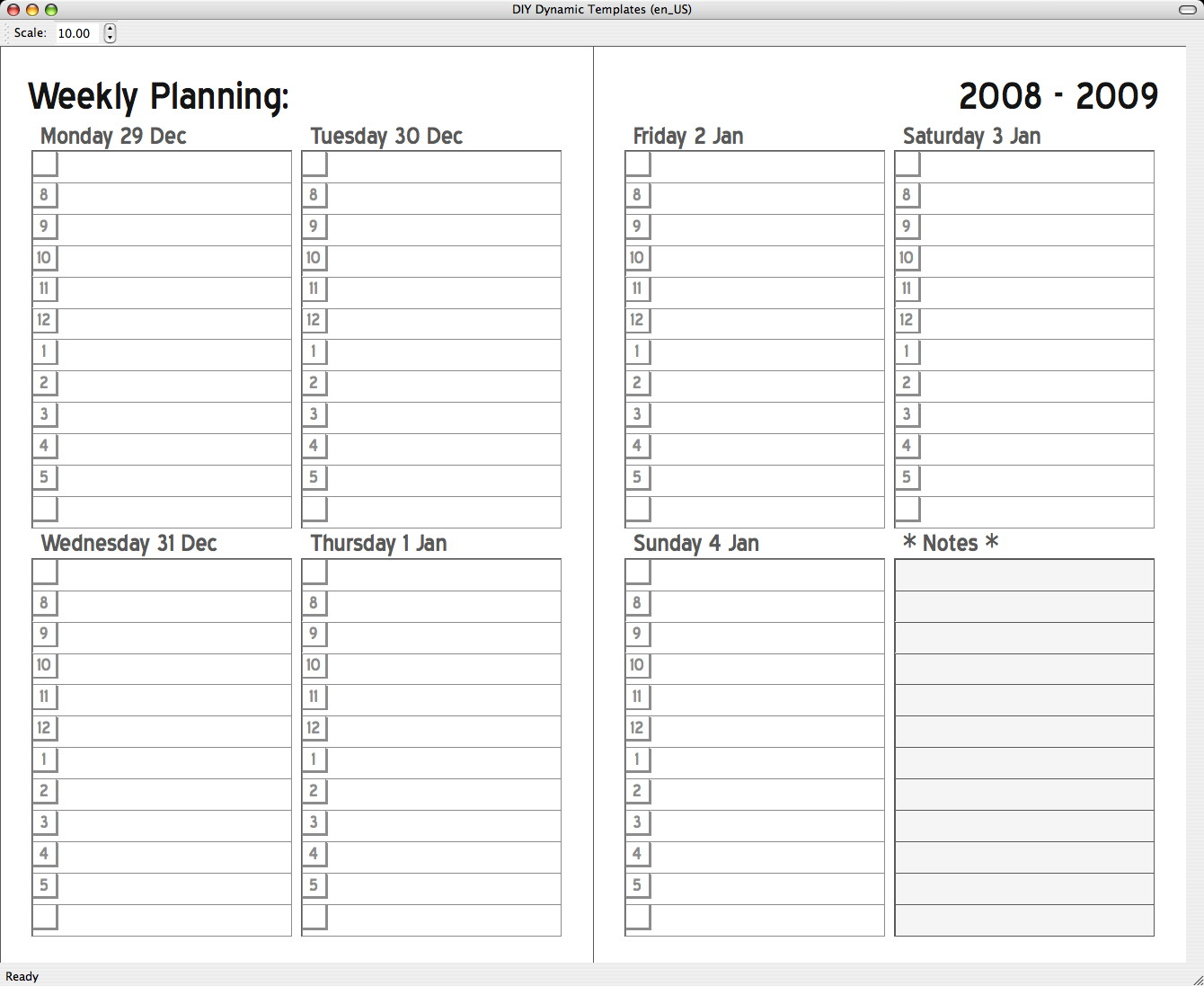 2 Page Weekly Calendar Template - Togo.wpart.co