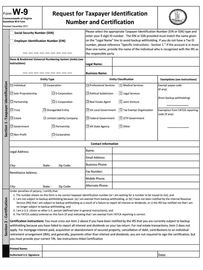 2017-2020 Form Va Substitute W-9 Fill Online, Printable