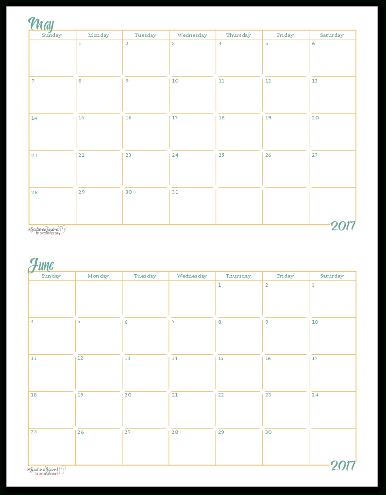 2017 Half-Size Monthly Calendar Printables | Blank Monthly