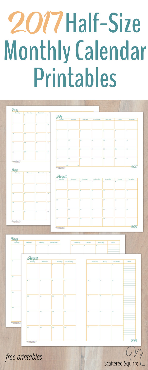 2017 Half-Size Monthly Calendar Printables
