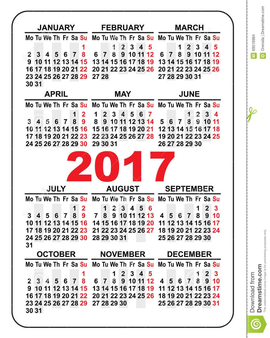 2017 Pocket Calendar   Templates Free Printable