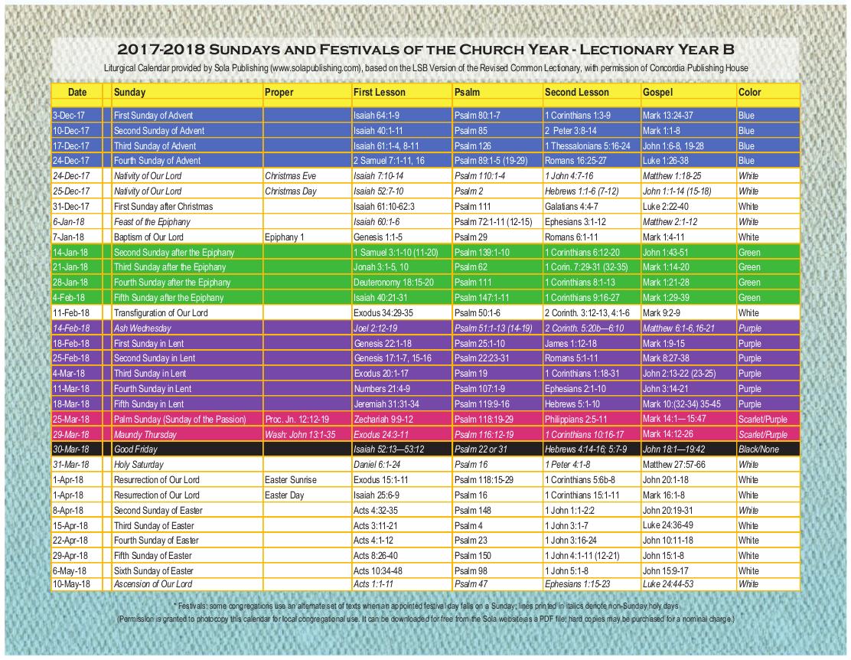 2018 Liturgical Calendar (Year B) K-2018   Sola Publishing