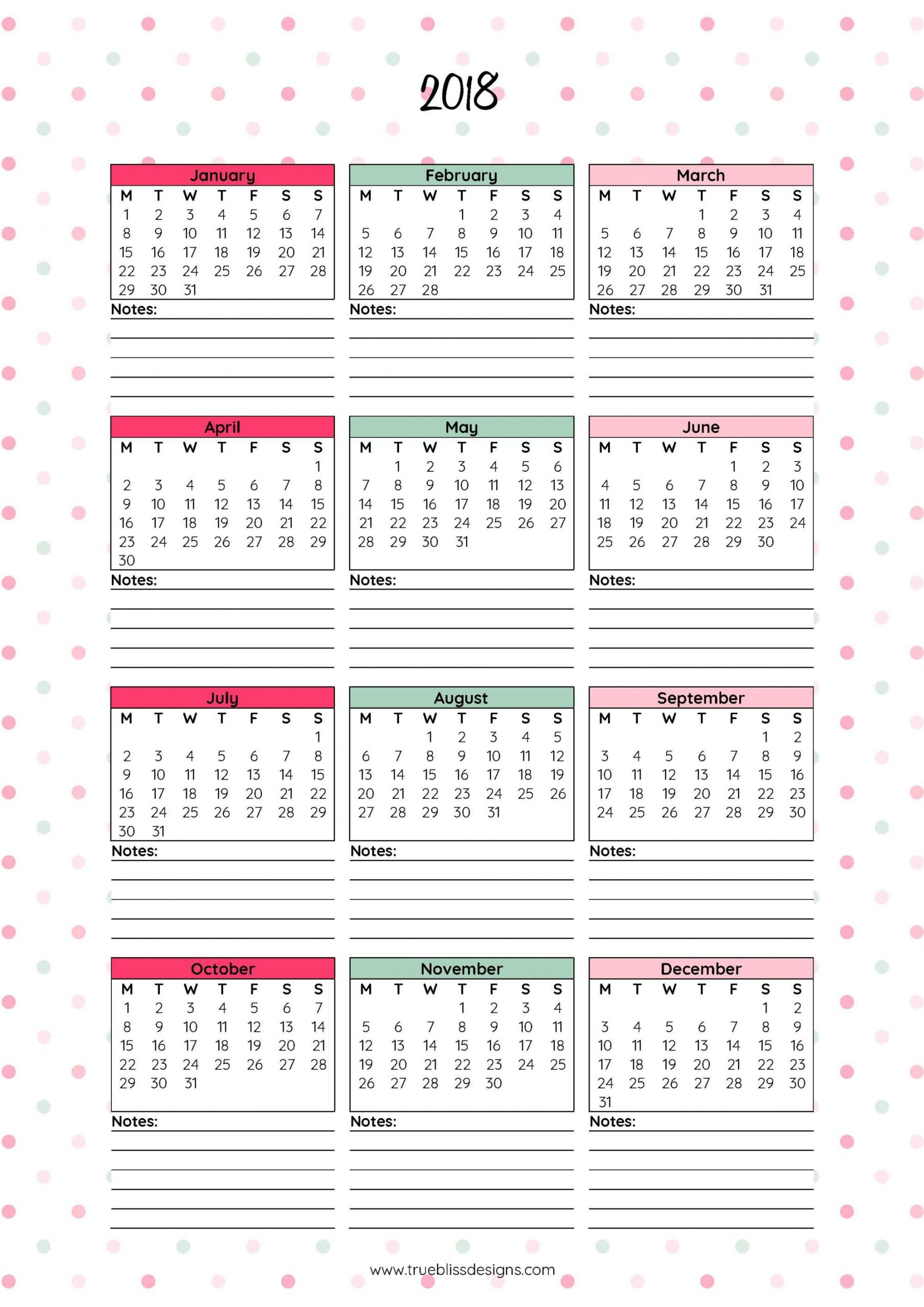 2018 Monthly Printable Calendar - Let's Do This | At A