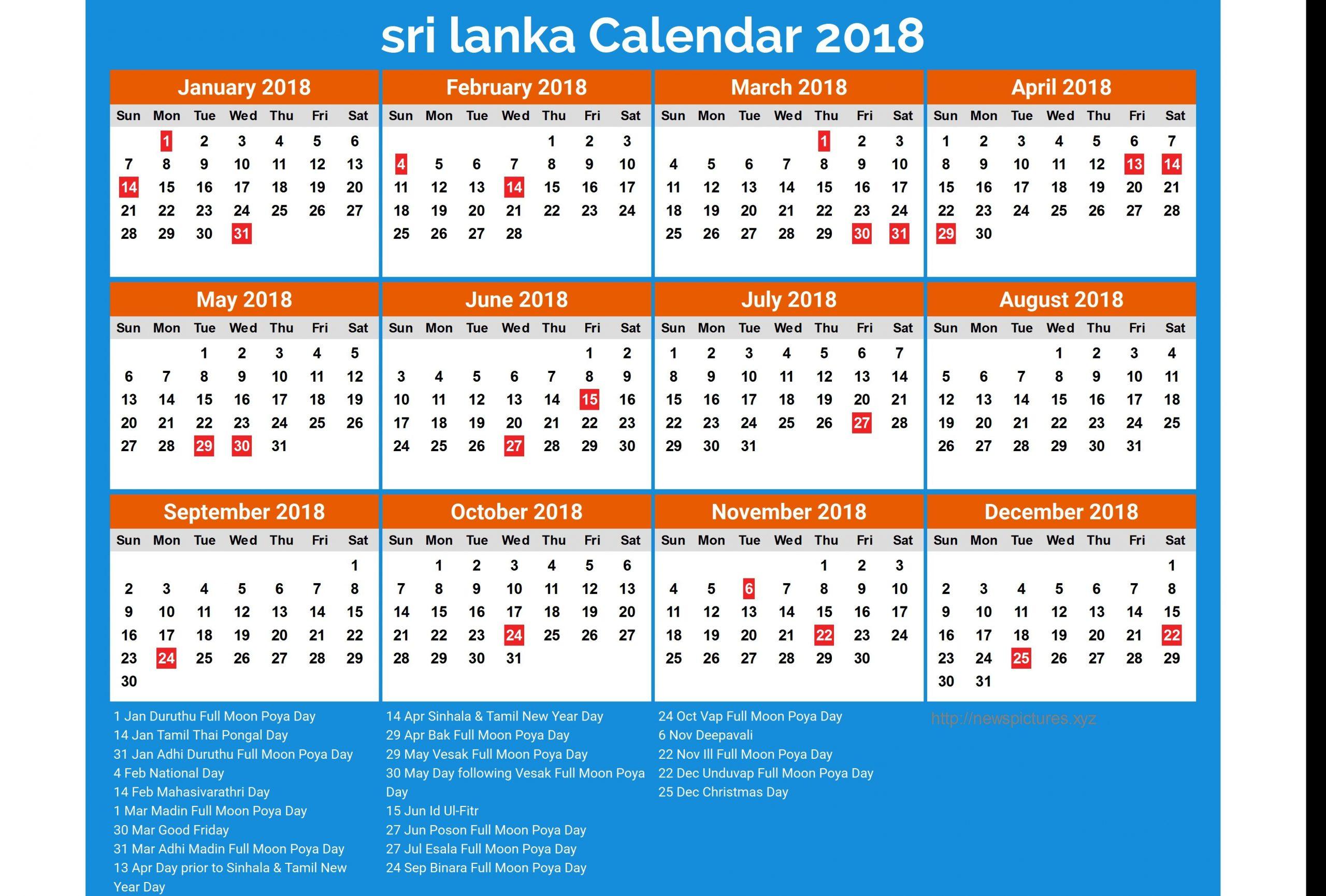 2018 New Year Calendar Sri Lanka Jill Davis Design