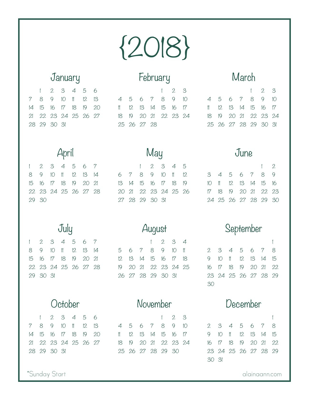 2018 Year-At-A-Glance Calendar {Free Printable} | Календар
