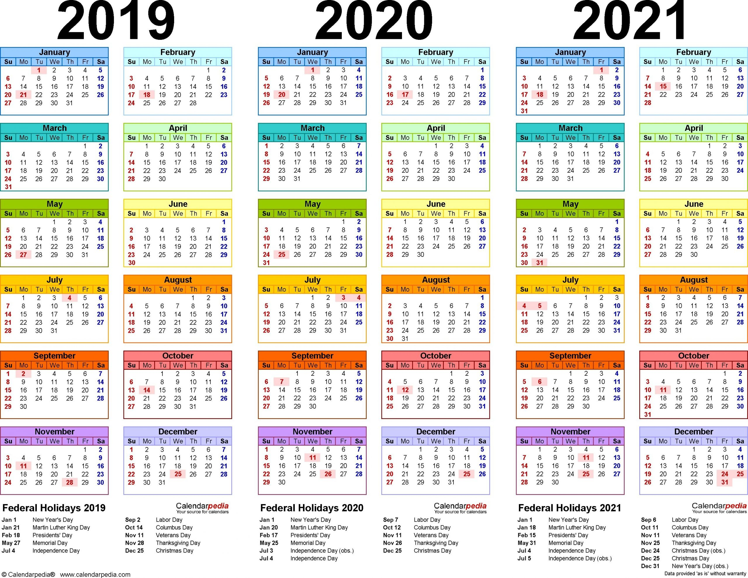 2019/2020/2021 Calendar - 4 Three-Year Printable Pdf