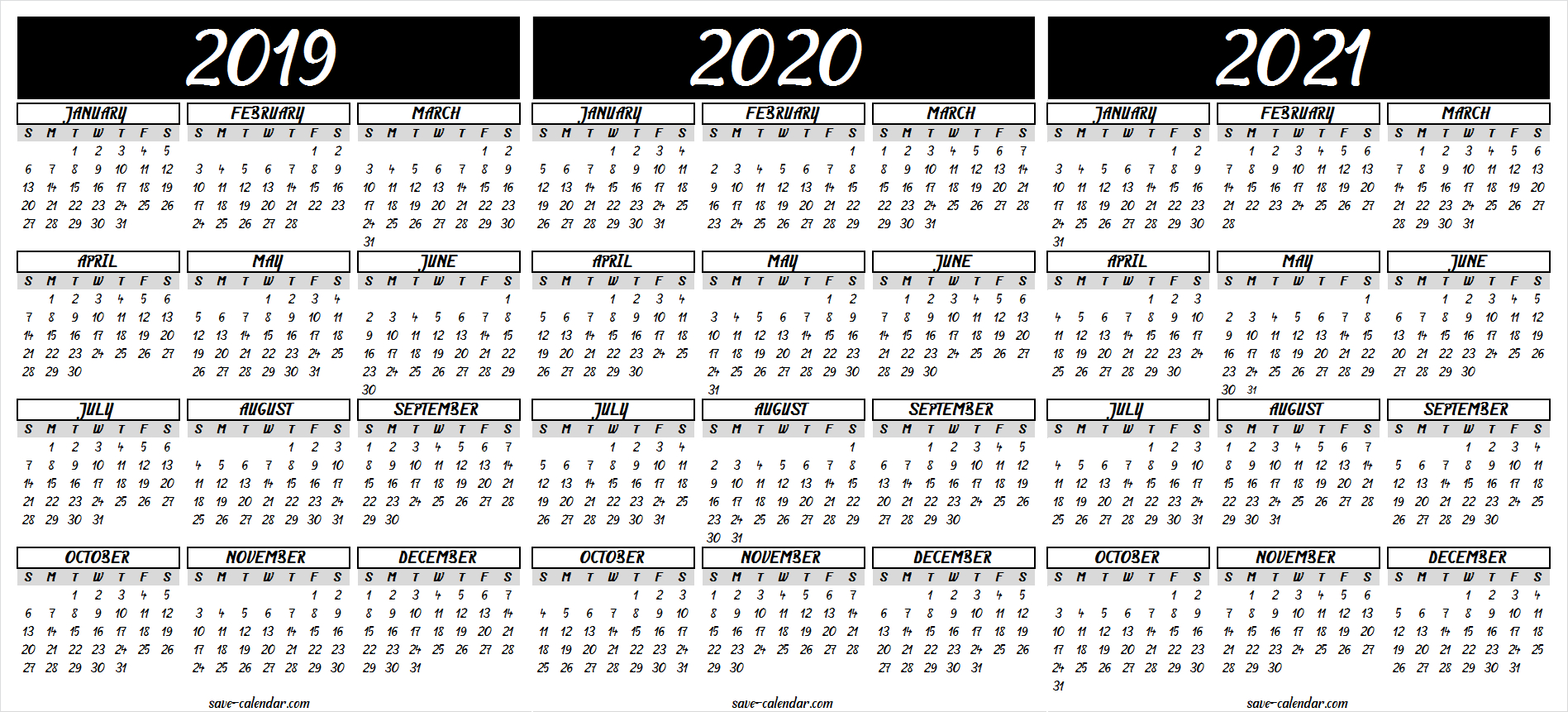 2019 2020 2021 Calendar Printable | 2021 Calendar, Free