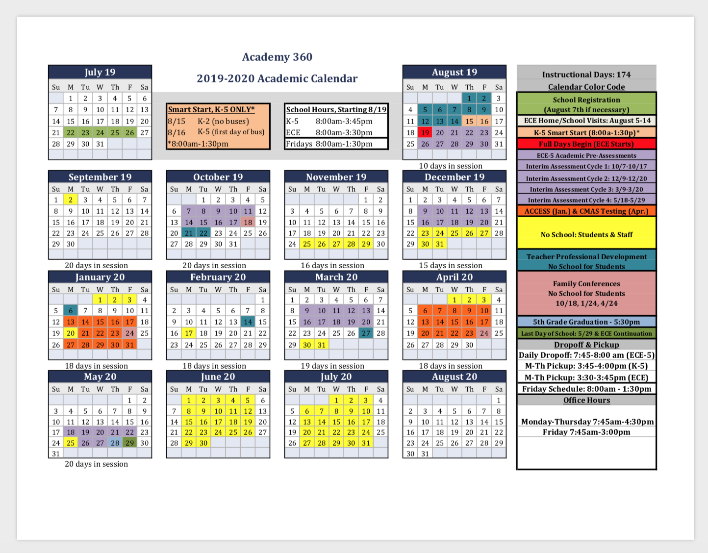 2019-2020 Academic Calendar & Back To School Important Info