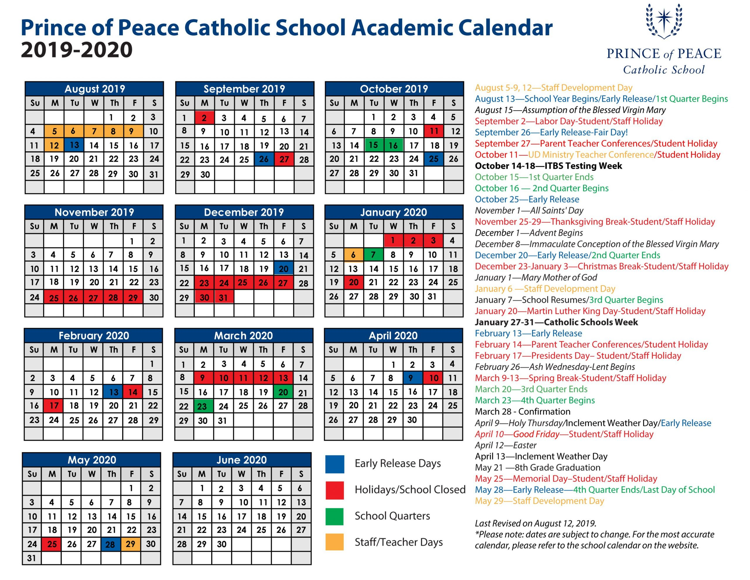 2019 - 2020 Academic Calendar - Prince Of Peace Catholic School