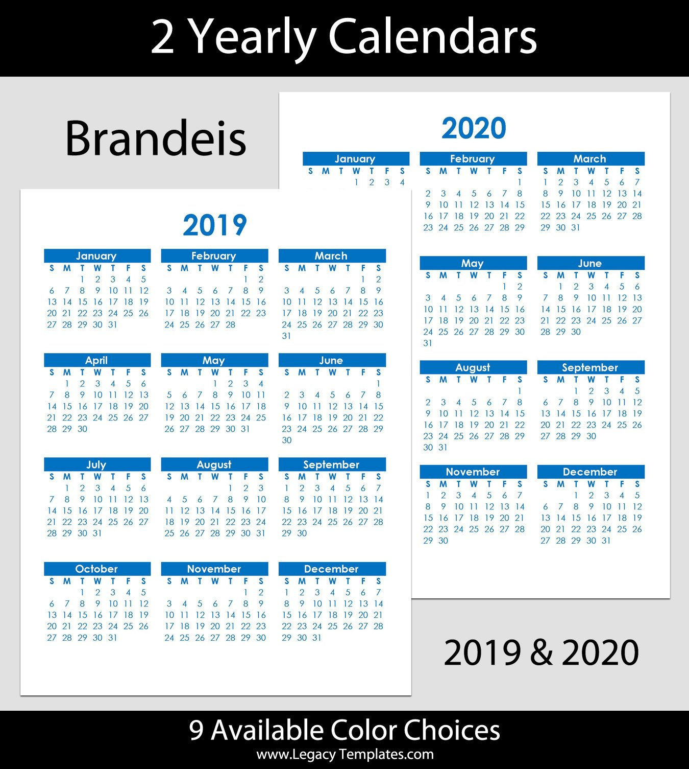"2019 & 2020 Brandeis Blue Yearly Calendars - Letter (8.5"" X 11"")"