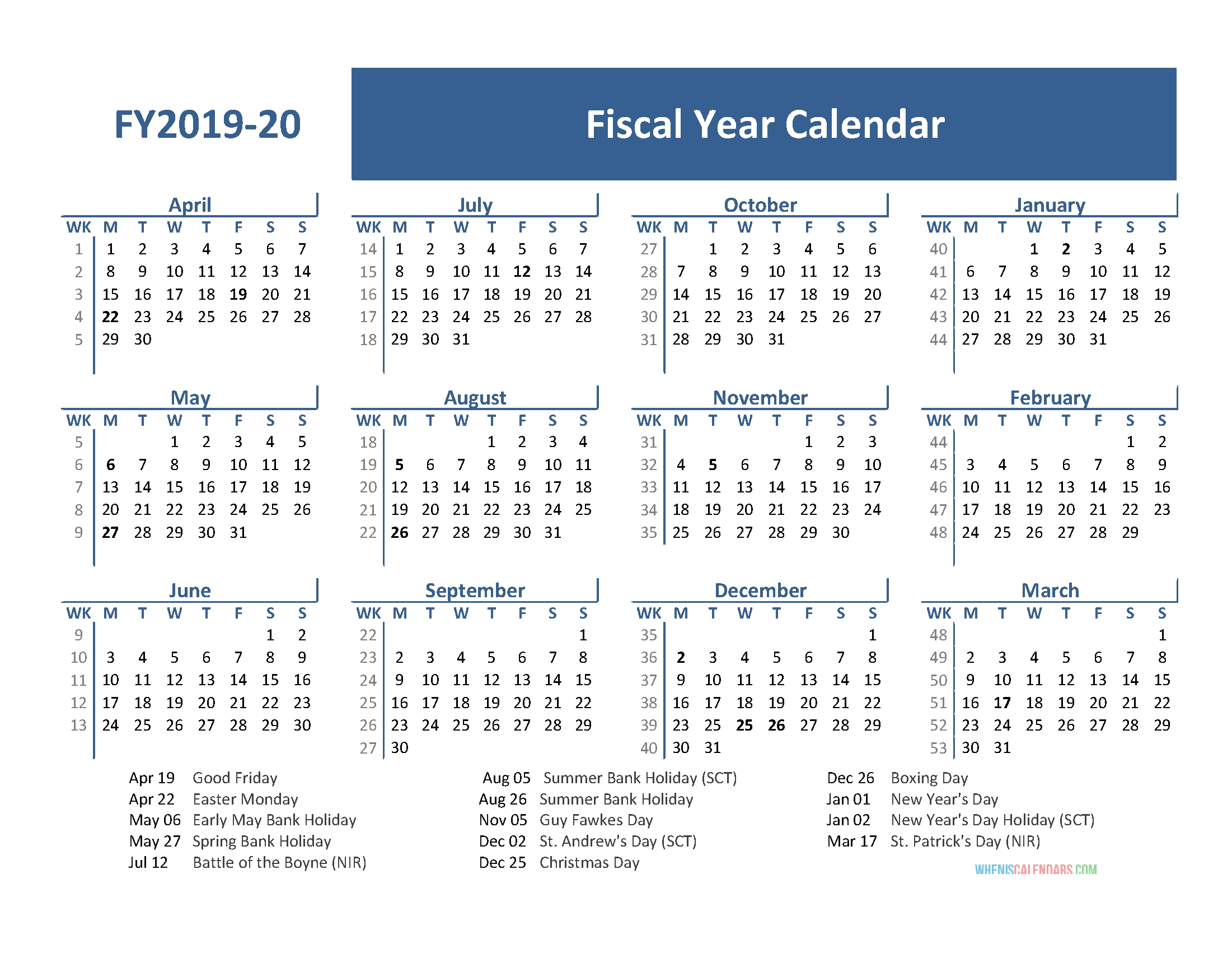 2019-2020 Calendar Financial Week Numbers - Calendar