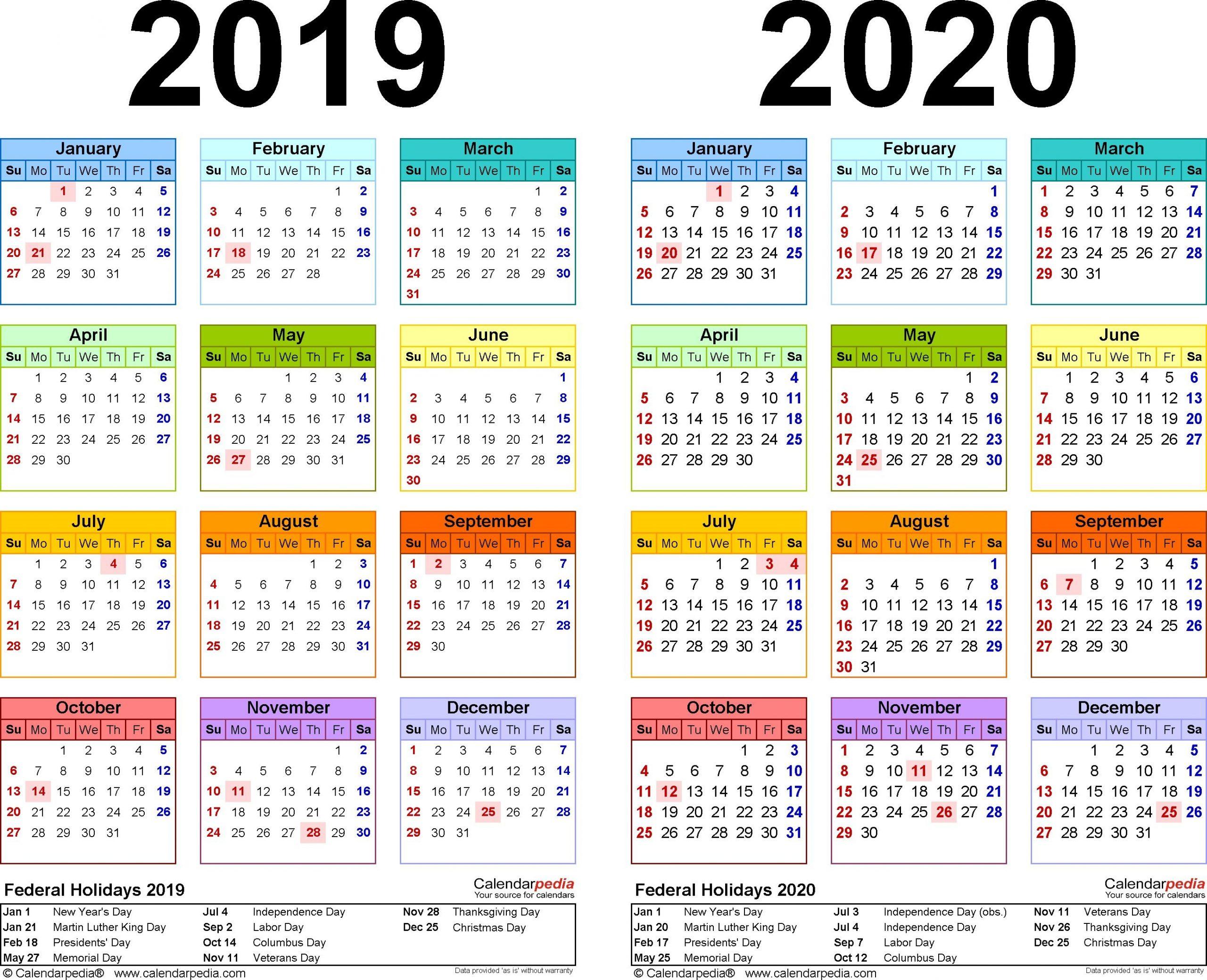 2019-2020 Calendar - Free Printable Two-Year Pdf Calendars