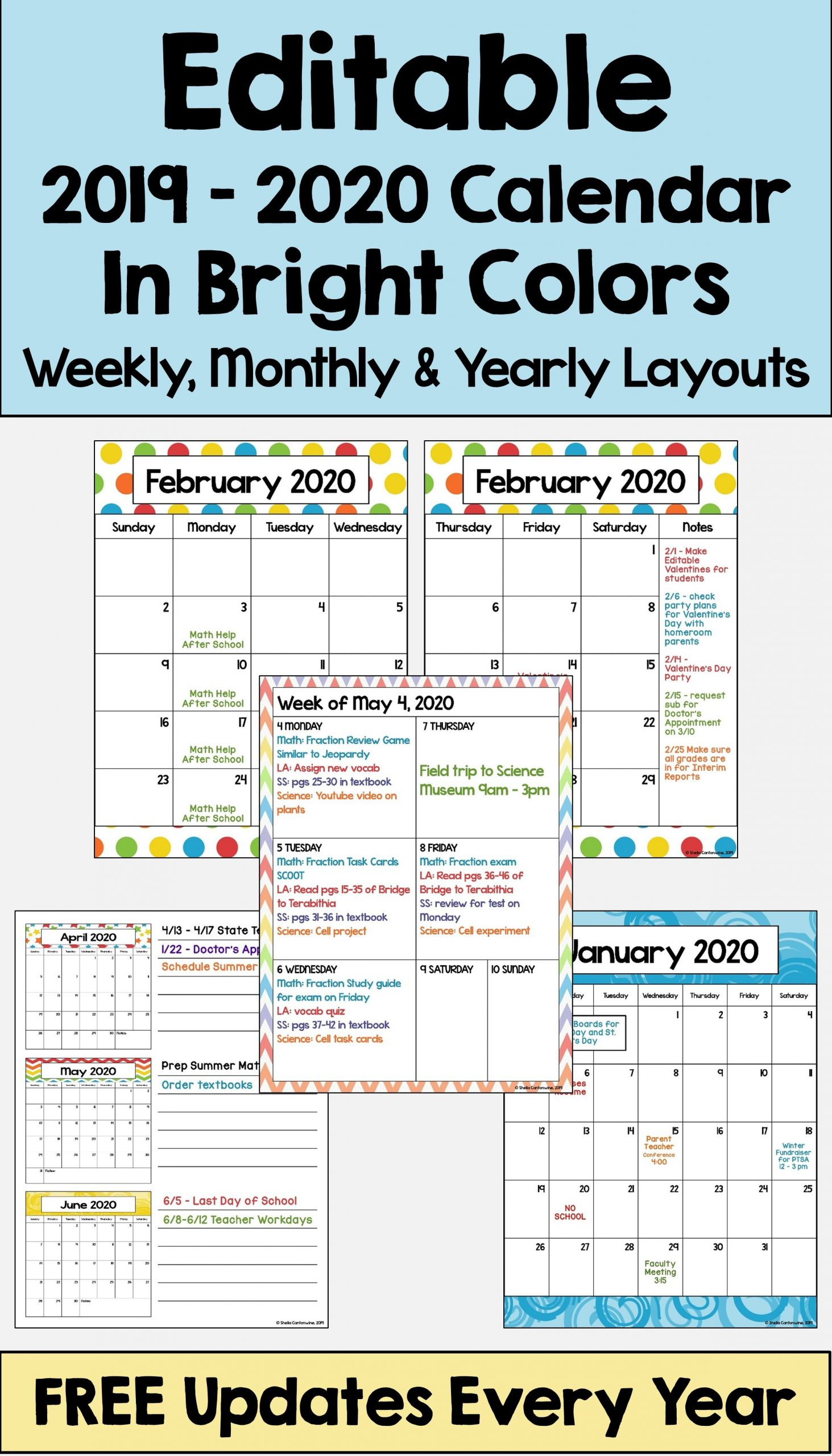 2019-2020 Calendar Printable And Editable With Free Updates