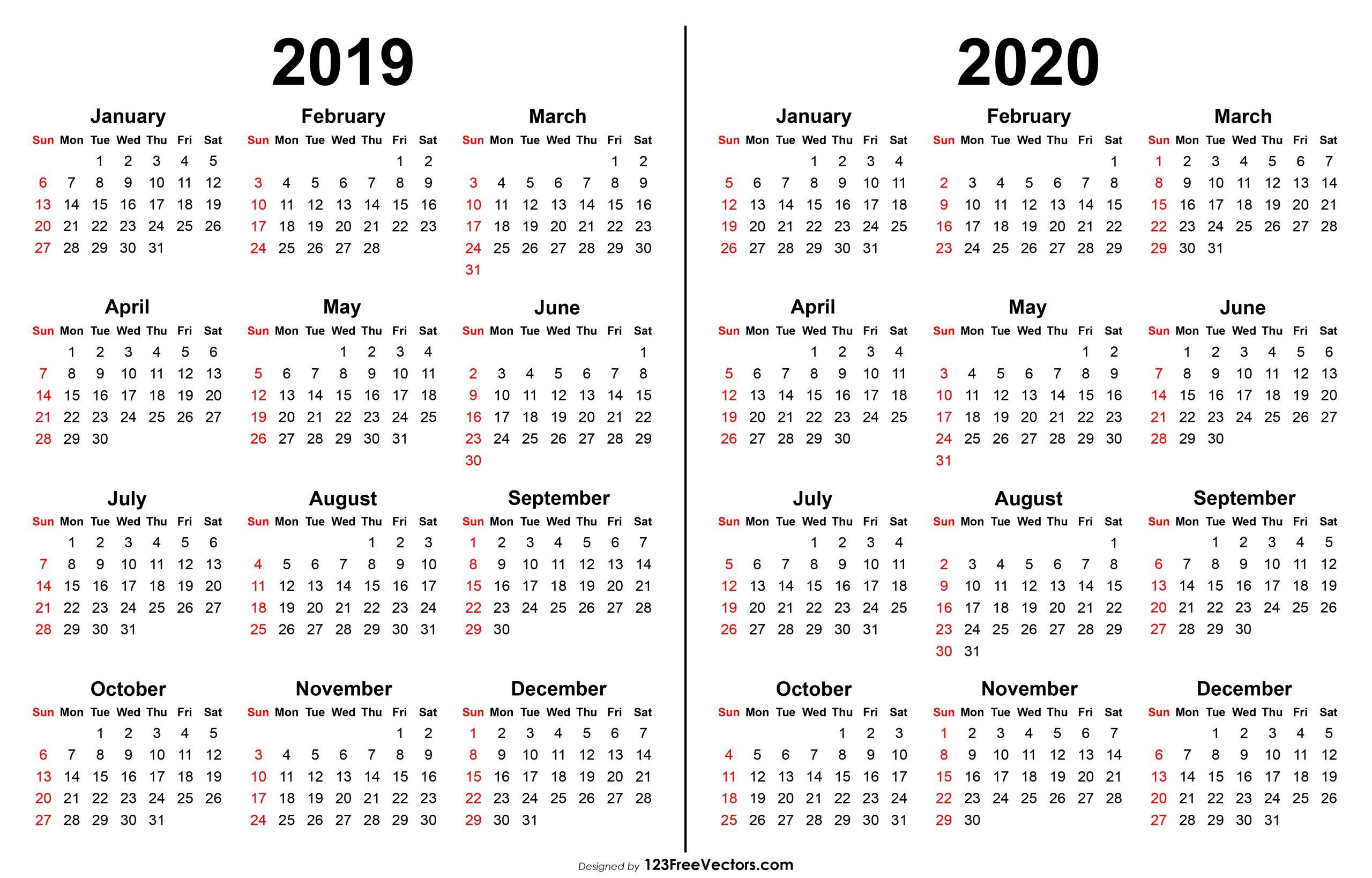 2019 2020 Calendar | Printable Yearly Calendar, Print
