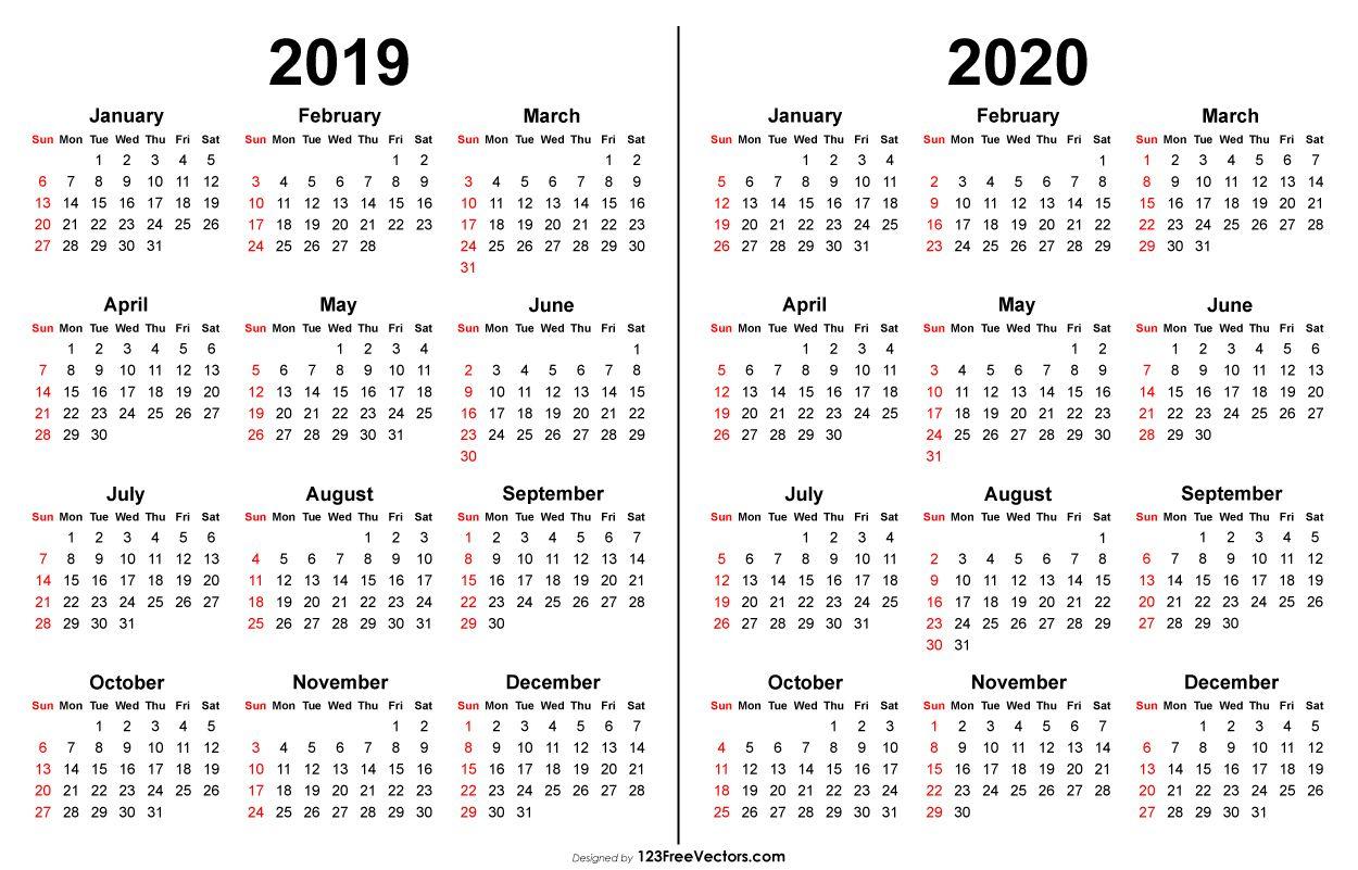 2019 2020 Calendar   Printable Yearly Calendar, Print