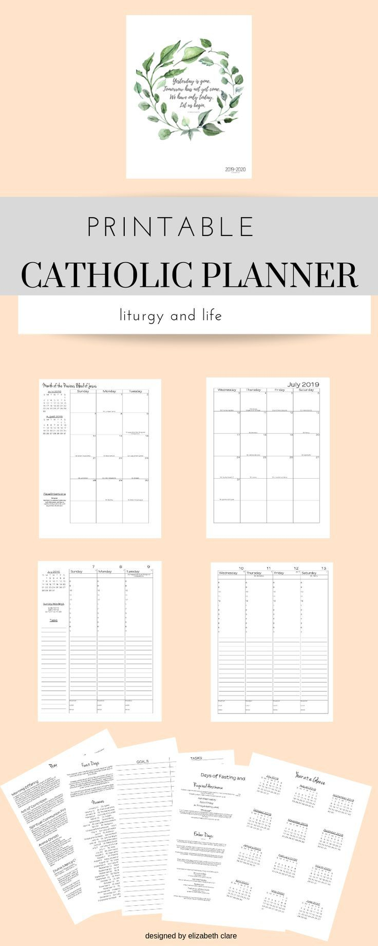2019 - 2020 Catholic Planner Weekly Printable: Daily Planner