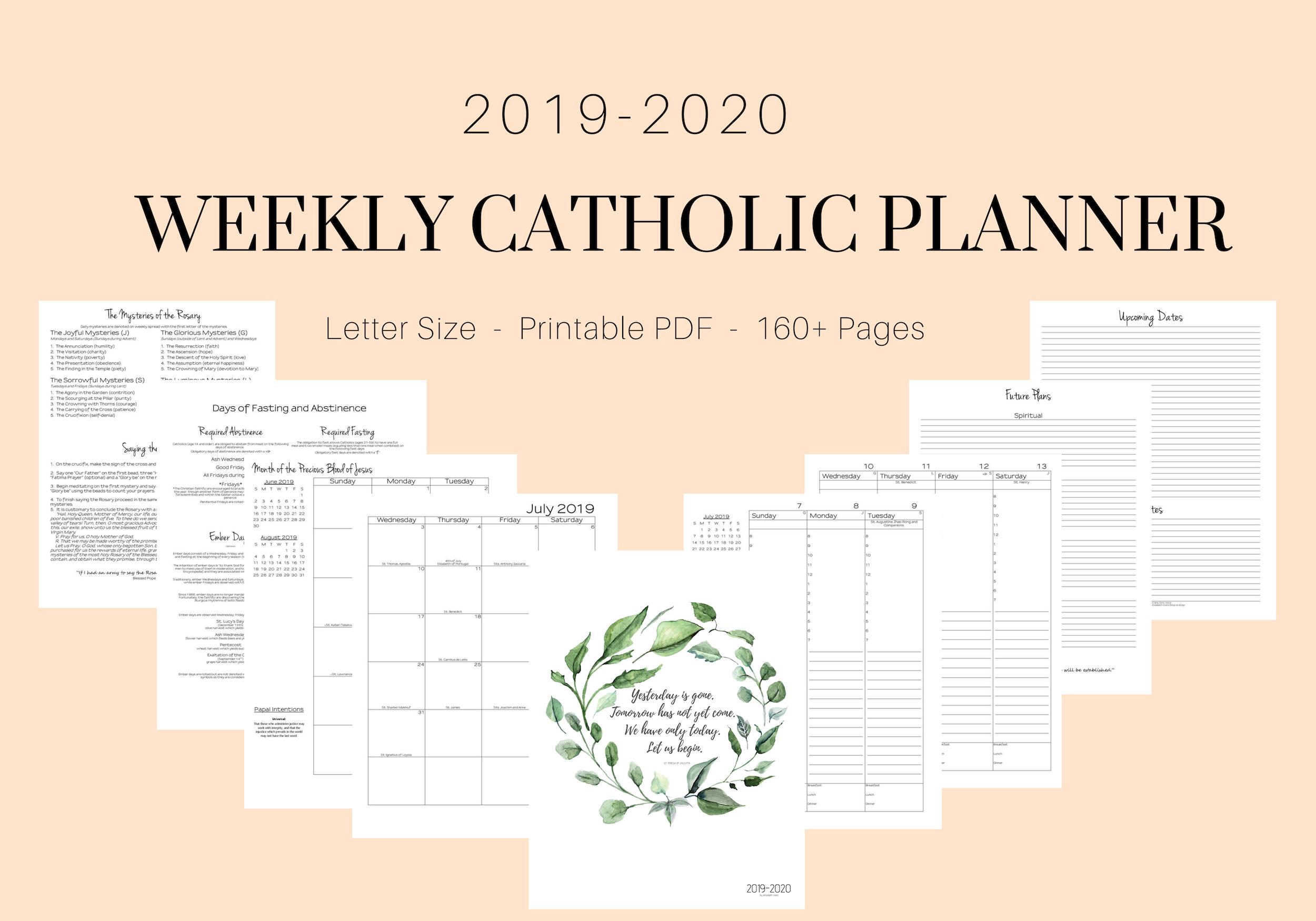 2019-2020 Catholic Weekly Planner