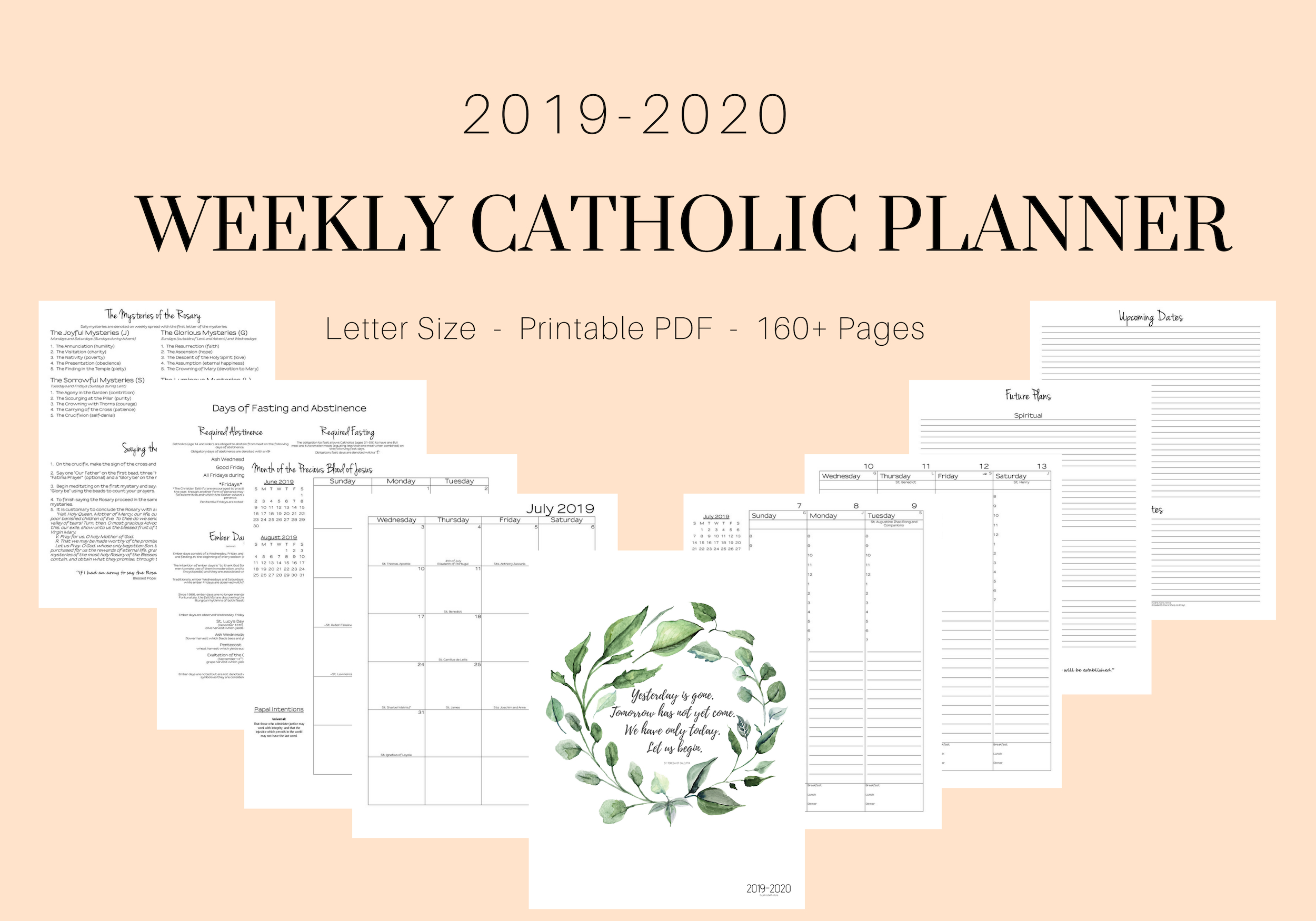 2019-2020 Catholic Weekly Planner