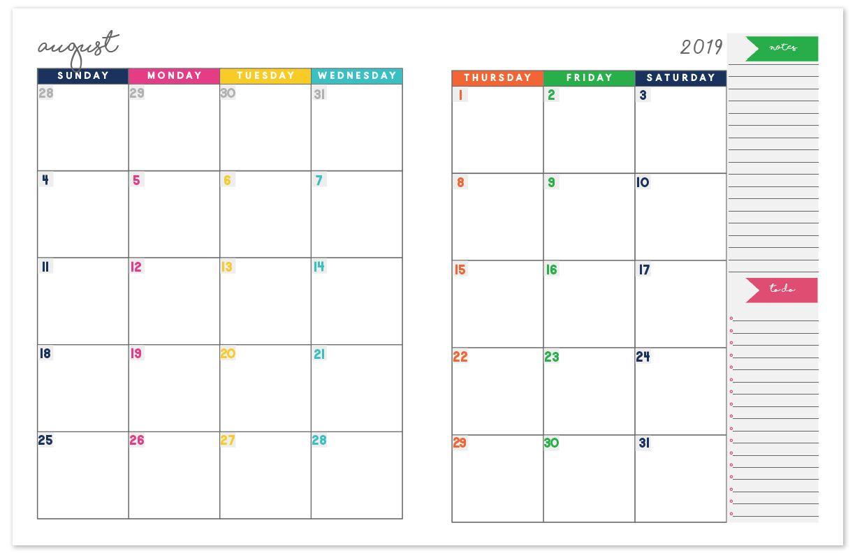 2019-2020 Monthly Calendar Planner | Monthly Planner