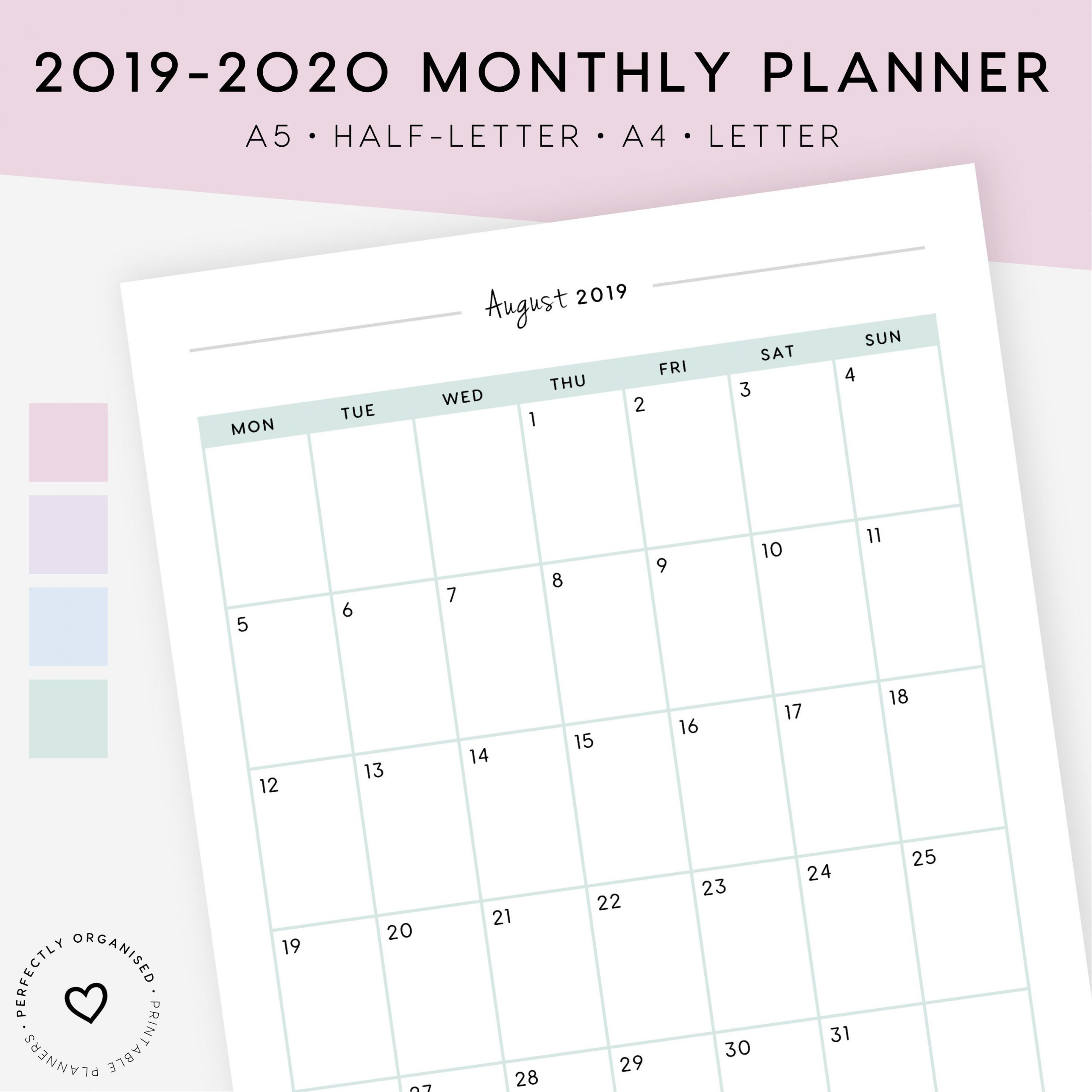 2019-2020 Monthly Planner Printable | 2019-2020 Month On 1 Page, Monthly  Inserts, Monthly Calendar, A5, Half-Letter, A4, Letter