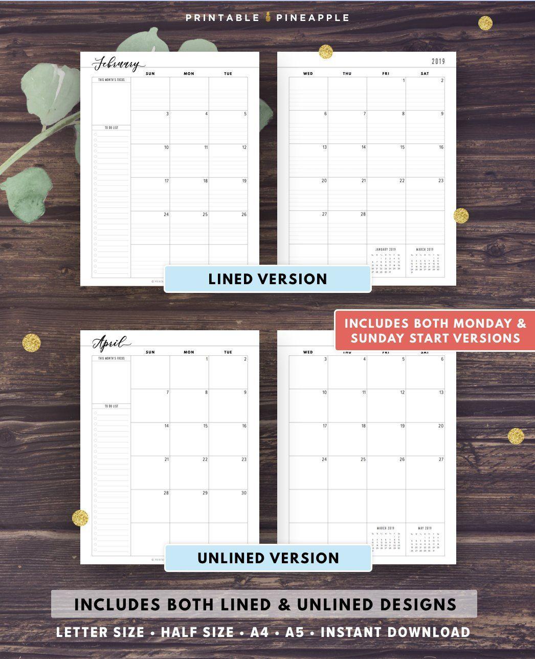 2019-2020 Monthly Planner Printable, 2019 Agenda, Filofax A5