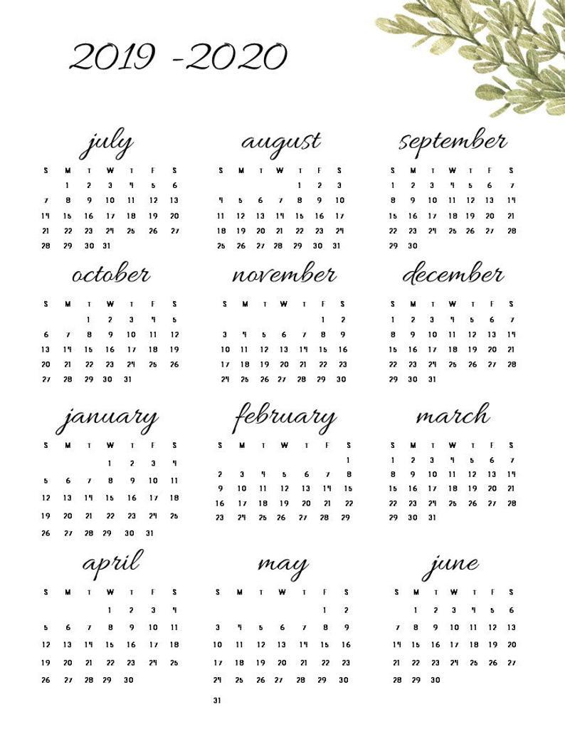 2019-2020 Printable Calendar Set- Attendance Calendar, Year At A Glance,  Monthly Calendar Set