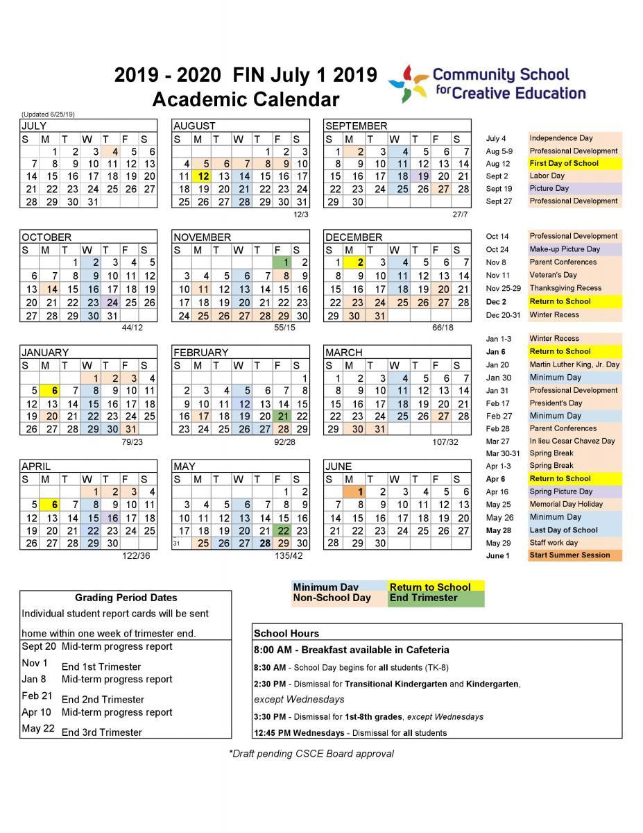 2019-2020 School Year Calendar | Community School For