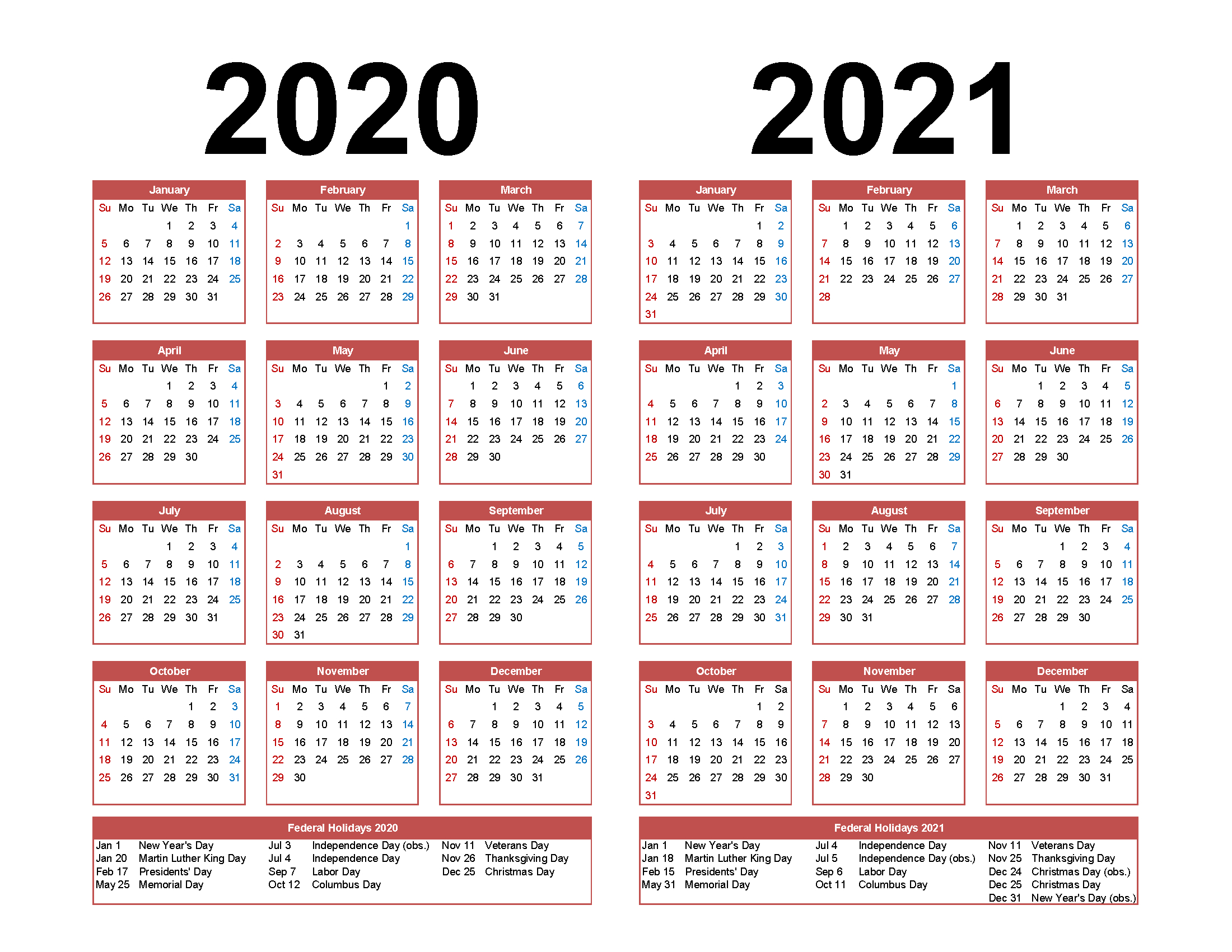 2019 2020 Two Year Calendar Free Printable Word Templates