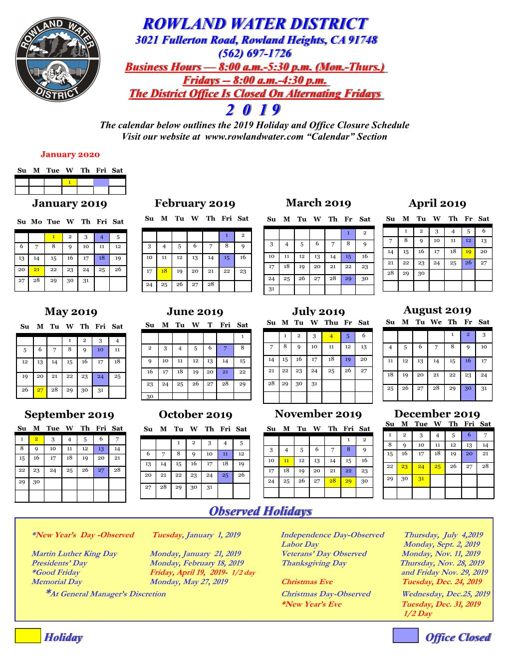 2019–9-80 Work Week-Holidays-Public – Rowland Water District