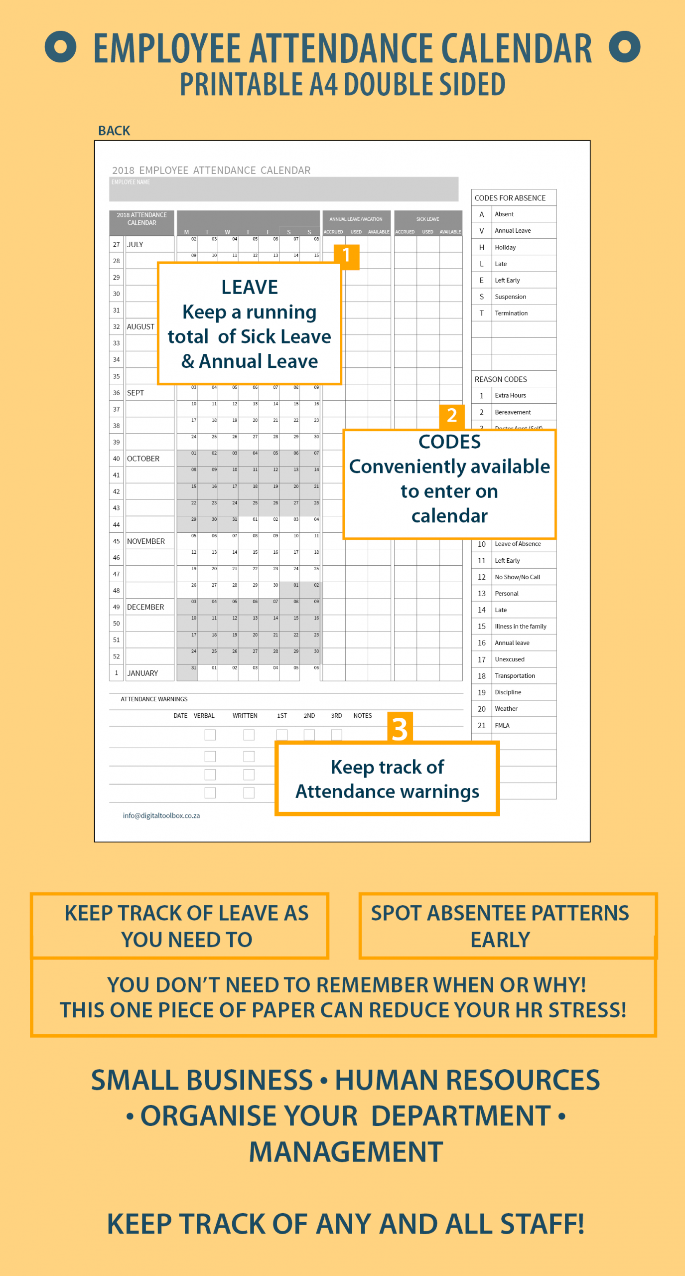 2019 A4 Printable Employee Attendance Calendar/tracker For