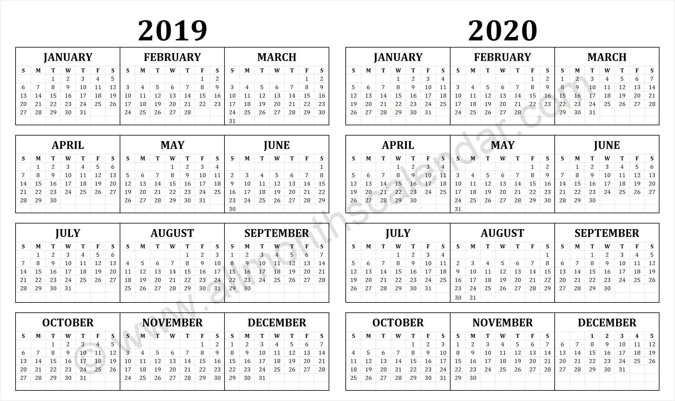 2019 And 2020 Calendar | Free Printable Calendar Templates