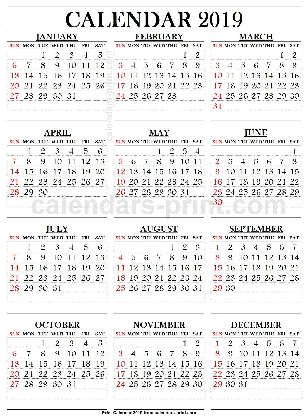 2019 Calendar Large Numbers | 2019 Calendar, Calendar 2019