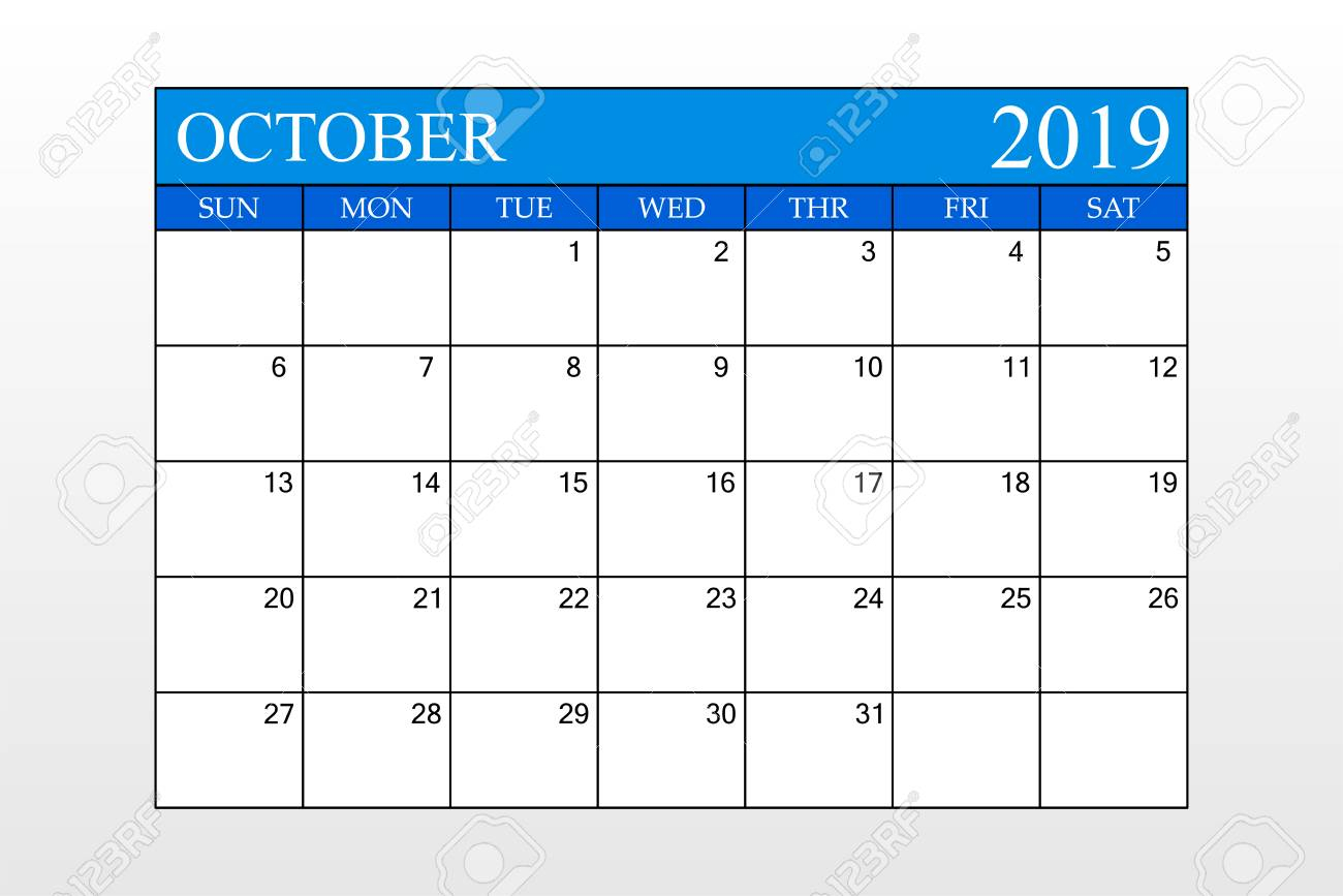 2019 Calendar, October, Blue Theme, Schedule Planner, Organizer,..